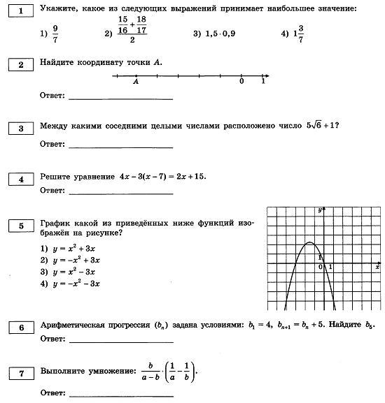 тесты по гиа по математике: