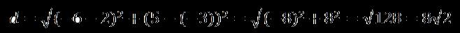 Расстояние между двумя точками пример