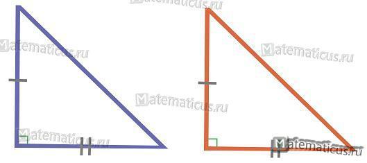 Подобие прямоугольного треугольника по двум катетам