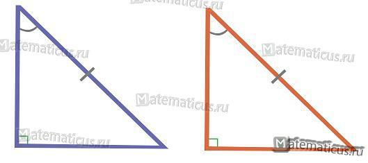 Подобие прямоугольного треугольника по гипотенузе и углу