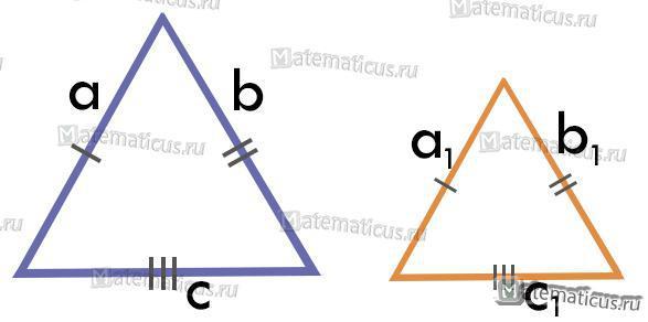 Признаки подобия треугольника по трем сторонам