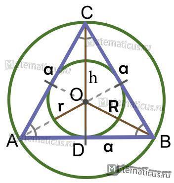 Вписанная и описанная в равносторонний треугольник окружность