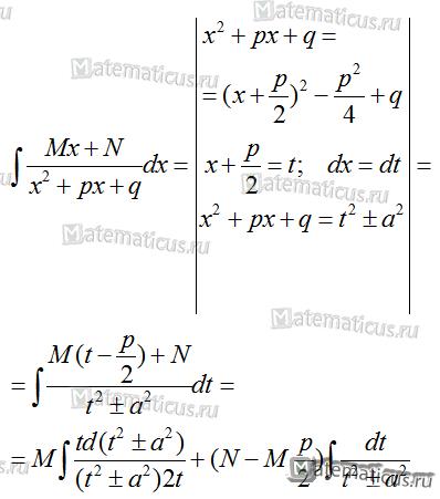 интегрирование дробей третьего типа формула
