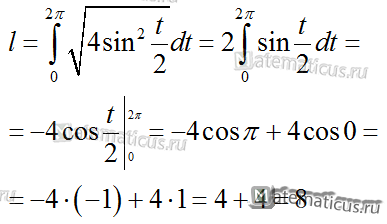 длина дуги циклоиды решение