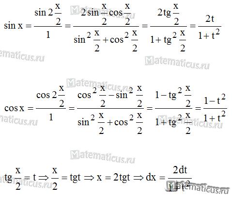 формулы подстановки для интеграла от рациональной дроби
