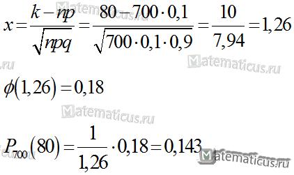 пример с решением локальная теорема Лапласа