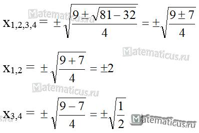 решение биквадратного уравнения