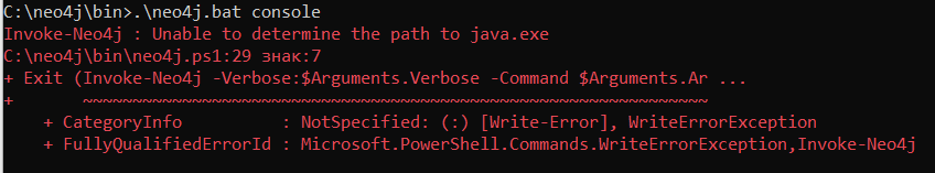 Invoke-Neo4j Unable to determine the path to java