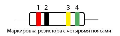 Маркировка резистора с четырьмя полосами