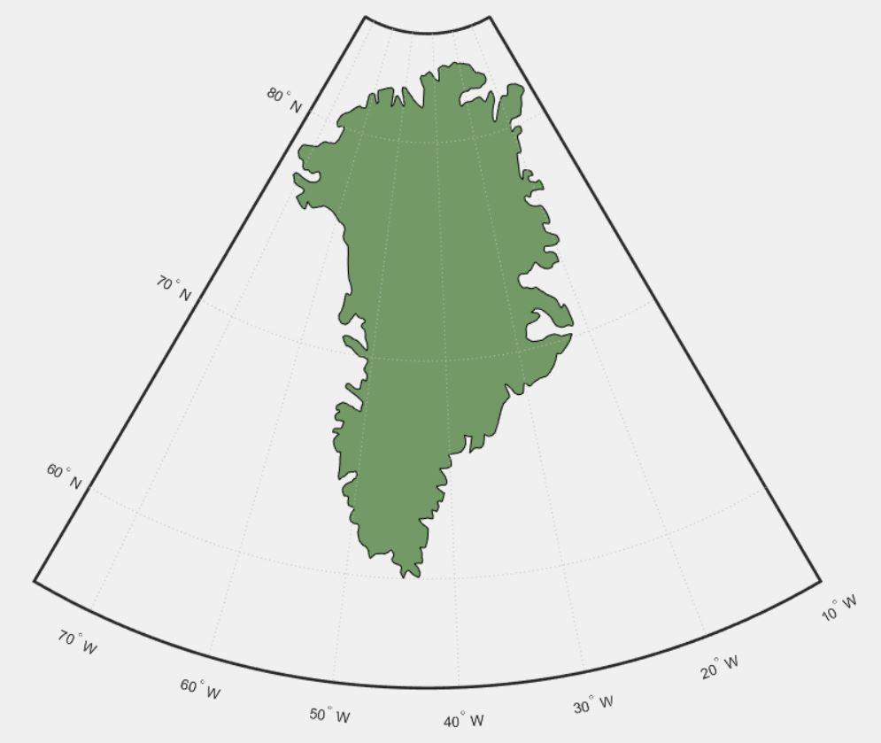 Карта Гренландии в Matlab