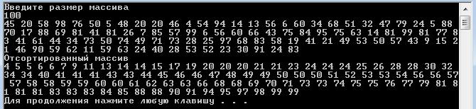 С++ Алгоритм быстрой сортировки