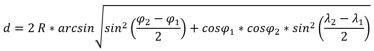 формула расстояния на сферической поверхности между двумя точками через долготу и широту