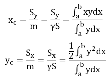 Координаты центра тяжести плоской фигуры формулы