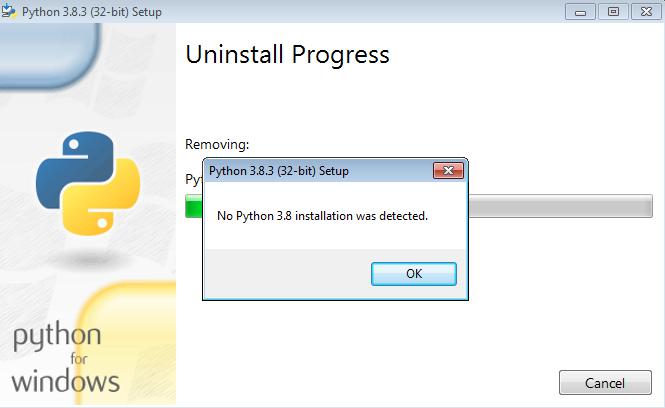 No Python 3.8 installation was detected