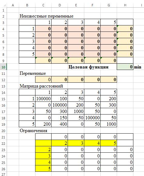 Таблица Excel условие задачи