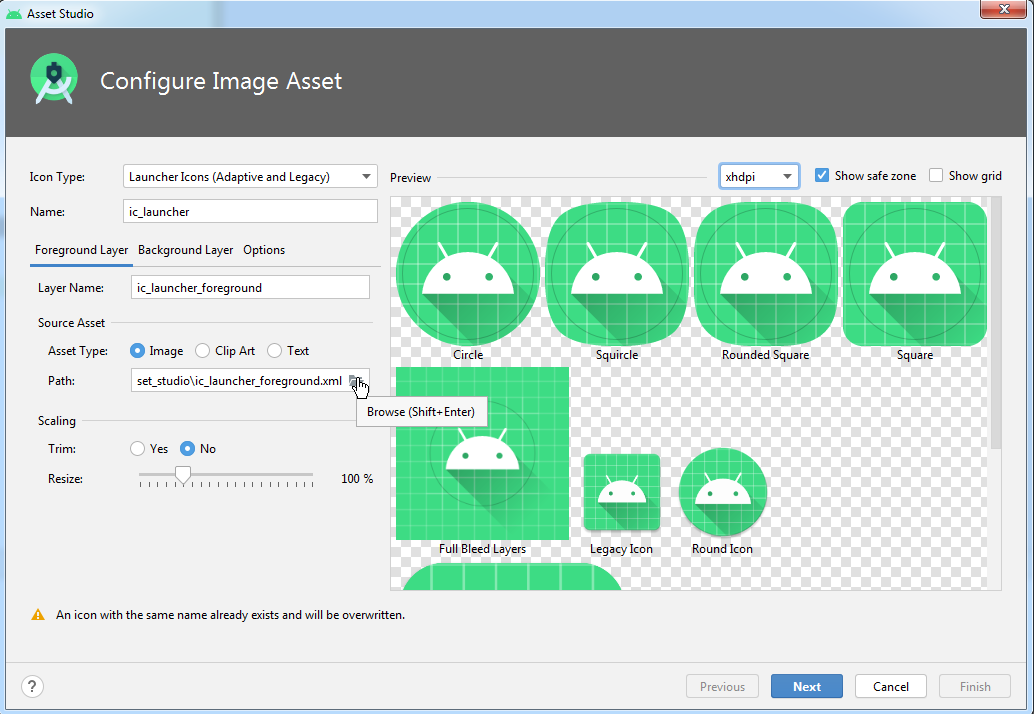 Configure Image Asset Android Studio