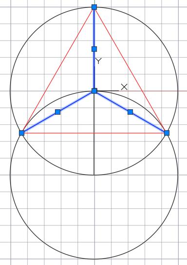 Деление окружности на 3 равные части