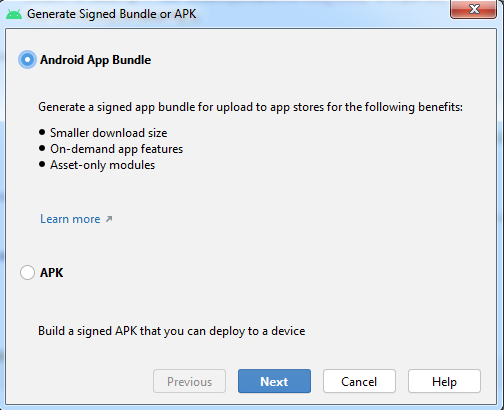 Generate Signed Bundle or APK