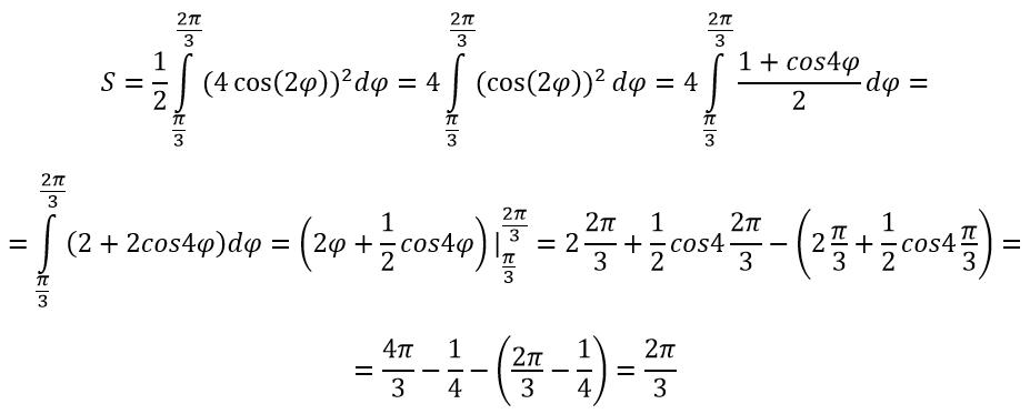 Площадь криволинейного сектора пример с решением