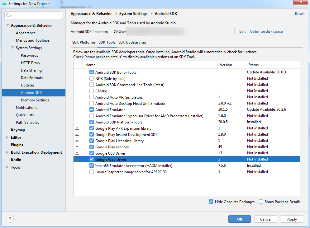 Settings for New Projects SDK Tools