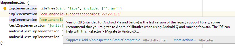 implementation com.android.supportappcompat-v727.1.1 ошибка build.gradle
