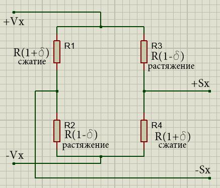 мостовая схема для тензодатчика