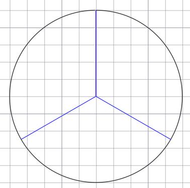 окружность разделена на три части