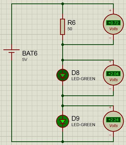 подключение двух светодиодов схема
