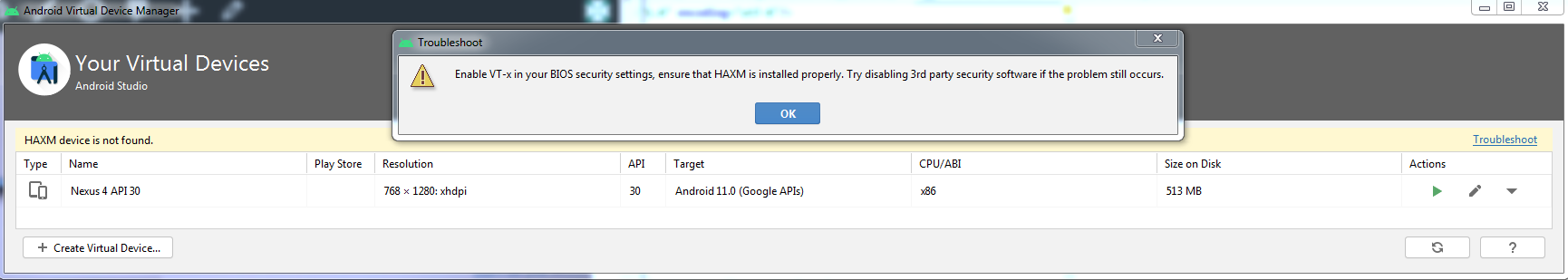 Enable VT-x in your BIOS security settings, ensure that HAXM is installed properly