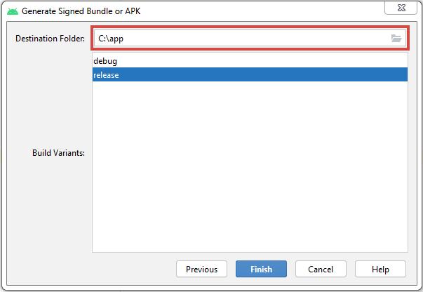 Generate Signed Bundle or APK release
