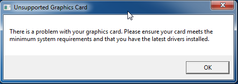 Unsupported graphics card