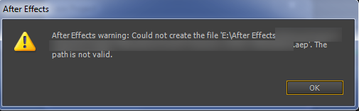 After Effects warning could not create the file