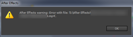 After Effects warning error with file