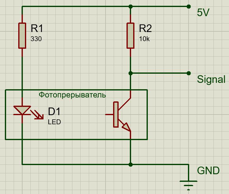 Схема датчика фотопрерывателя KY-010