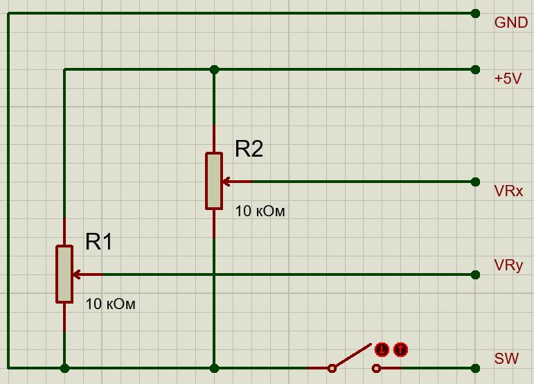 Схема модуля джойстика Joystick KY-023