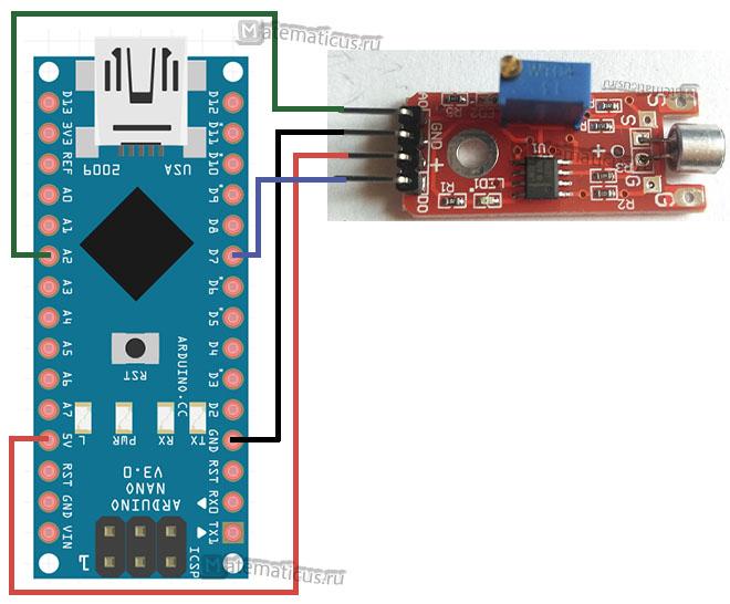 Схема подключения датчика звука KY-038 к arduino