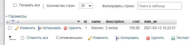 phpMyAdmin таблица