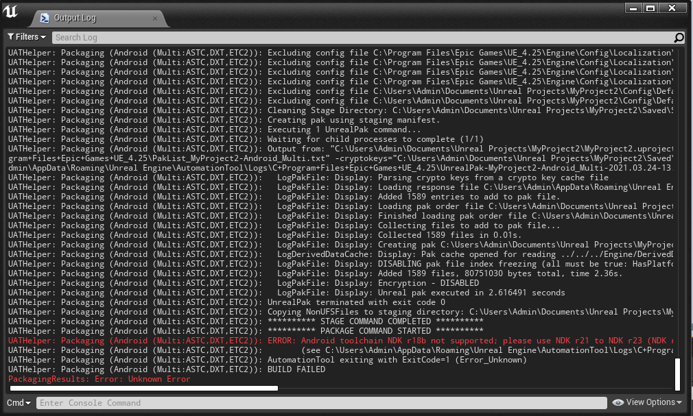 Android toolchain NDK r18b not supported please use NDK r21 to NDK r23