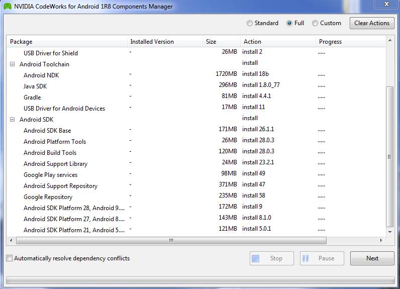 NVIDIA CodeWorks for Android 1R8 Components Manager