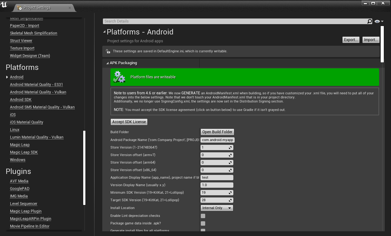 Project Settings Configure Now