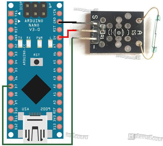 Схема подключения магнитного датчика KY-025 к Arduino