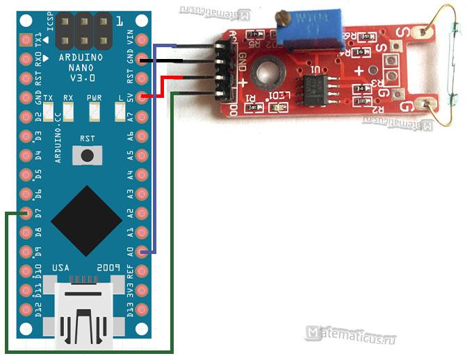 Схема подключения модуля датчика KY-021 к Arduino
