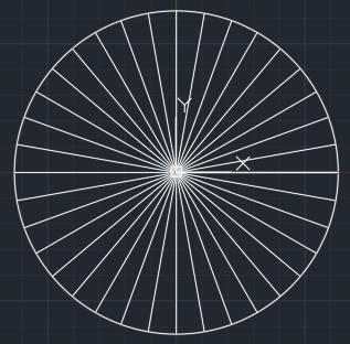 Autocad окружность разделённая на 36 частей