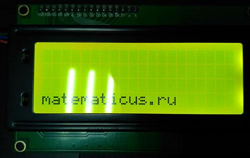 lcd 2004a с I2C результат работы Arduino Nano